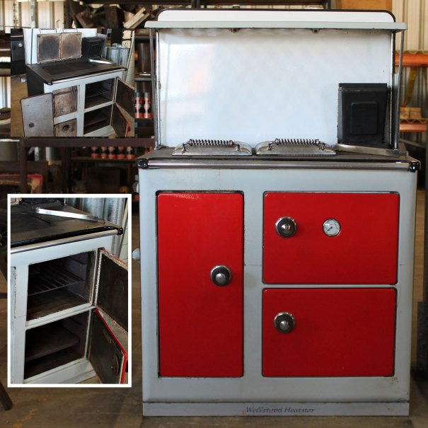 Wellstood Heart Star Colour: Red doors, light grey front, black body Dimensions: H with spashback 1290, W 835, D 535 Features: Water boiler in fire box, drop down oven covers, splash back included as pictured.  Flue connection box, oven temperatures gauge Price: $1000 inc GST We will assist with delivery if required.